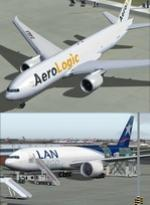 FSX/P3D Boeing 777-200F LAN Cargo & AeroLogic twin aircraft package