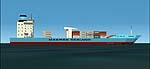 FS2000-2002                     Static airport API macro. Maersk Sealand Container ship.