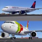 Airbus A318-111 TAP Portugal and Delta Twin Pack with VC